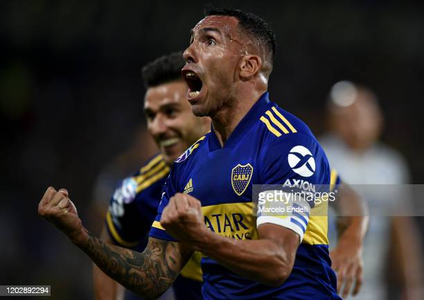 Carlos Tevez of Boca Juniors celebrates after scoring the first goal of his team during a match between Boca Juniors and Godoy Cruz as part of...