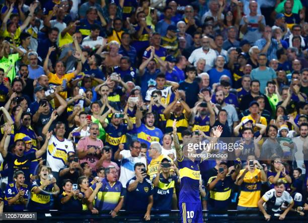 Carlos Tevez of Boca Juniors celebrates after scoring the first goal of his team during a match between Boca Juniors and Gimnasia y Esgrima La Plata...