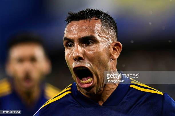 Carlos Tevez of Boca Juniors celebrates after scoring the first goal of his team during a match between Boca Juniors and Gimnasia as part of...
