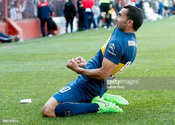 Carlos Tevez of Boca Juniors celebrates after scoring the first goal of his team during a match between Argentinos Juniors and Boca Juniors as part...