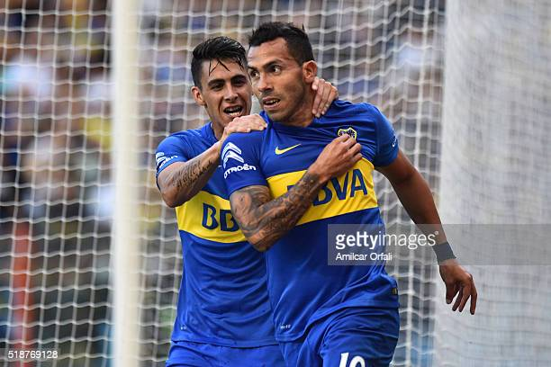 Carlos Tevez of Boca Juniors celebrates after scoring the first goal of his team during a match between Boca Juniors and Atletico Rafaela as part of...