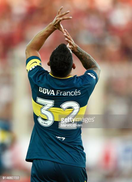 Carlos Tevez of Boca Juniors celebrates after scoring the first goal of his team during a match between San Lorenzo and Boca Juniors as part of the...