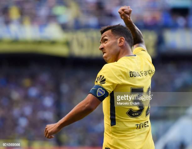 Carlos Tevez of Boca Juniors celebrates after scoring the first goal of his team during a match between Boca Juniors and San Martin de San Juan as...