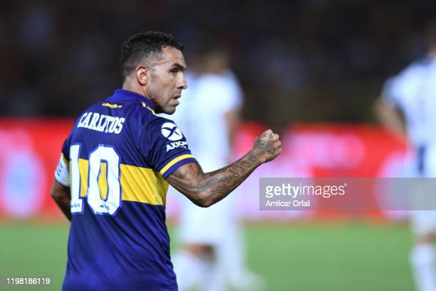 Carlos Tevez of Boca Juniors celebrates after scoring the second goal of his team during a match between Talleres and Boca Juniors as part of...