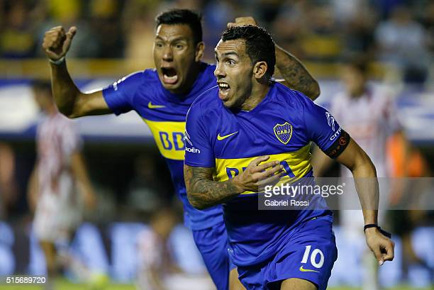 Carlos Tevez of Boca Juniors celebrates after scoring the second goal of his team during a match between Boca Juniors and Union as part of Torneo de...