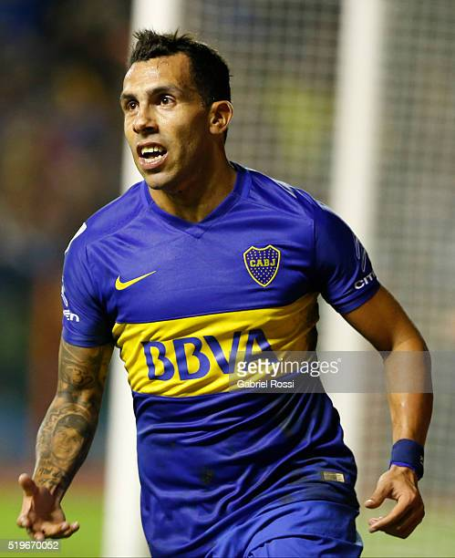 Carlos Tevez of Boca Juniors celebrates after scoring the second goal of his team during a match between Boca Juniors and Bolivar as part of Group 3...