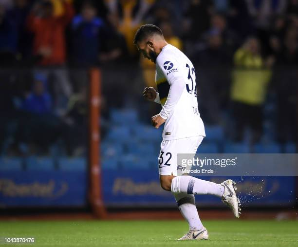 Carlos Tevez of Boca Juniors celebrates after scoring the third goal of his team during a match between Boca Juniors and Colon as part of Superliga...