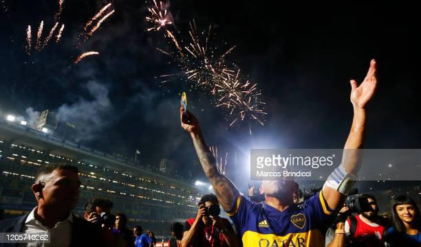 Carlos Tevez of Boca Juniors celebrates winning the championship after a match between Boca Juniors and Gimnasia y Esgrima La Plata as part of...
