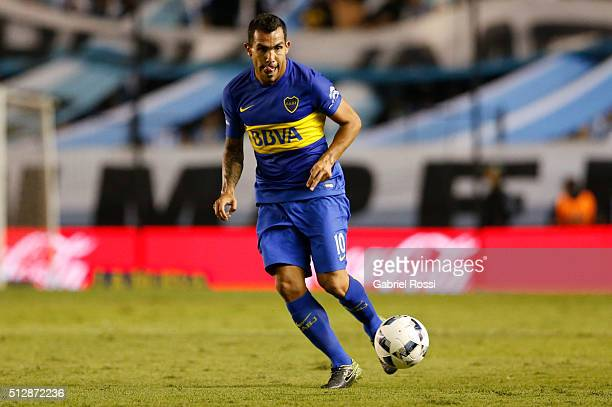 Carlos Tevez of Boca Juniors controls the ball during a fifth round match between Racing Club and Boca Juniors as part of Torneo Transicion 2016 at...