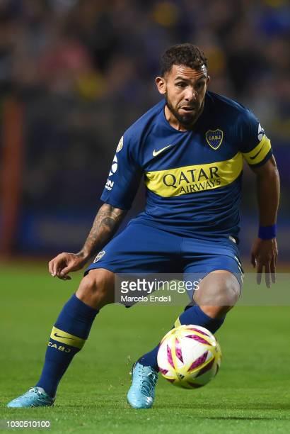 Carlos Tevez of Boca Juniors controls the ball during a match between Boca Juniors and Velez as part of Superliga Argentina 2018/19 at Estadio...