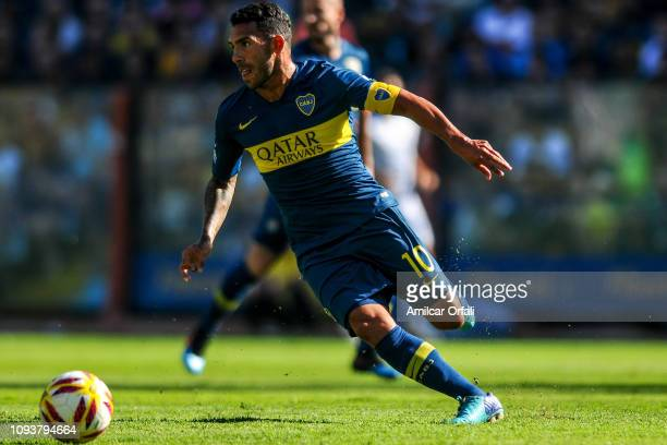 Carlos Tevez of Boca Juniors controls the ball during a match between Boca Juniors and Godoy Cruz as part of Superliga 2018/19 at Estadio Alberto J...