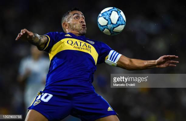 Carlos Tevez of Boca Juniors controls the ball during a match between Boca Juniors and Godoy Cruz as part of Superliga 2019/20 at Alberto J. Armando...
