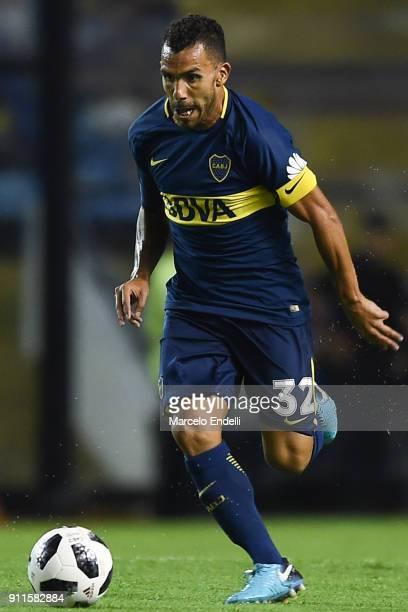 Carlos Tevez of Boca Juniors drives the ball during a match between Boca Juniors and Colon as part of the Superliga 2017/18 at Alberto J Armando...