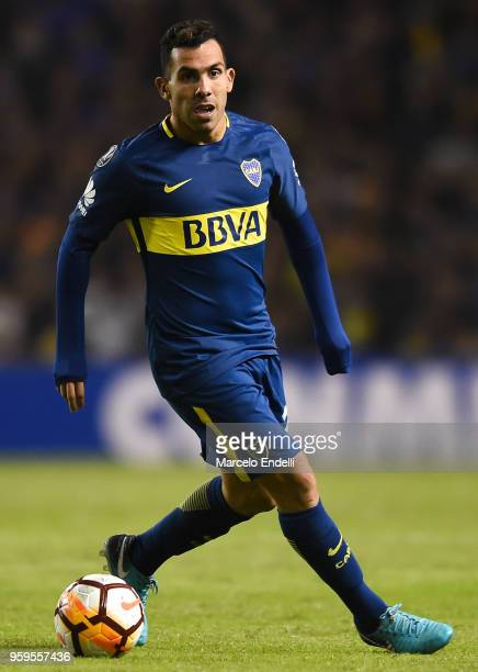 Carlos Tevez of Boca Juniors drives the ball during a match between Boca Juniors and Alianza Lima at Alberto J Armando Stadium on May 16 2018 in La...