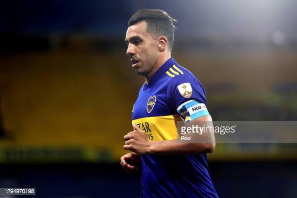 Carlos Tevez of Boca Juniors in action during a semifinal first leg match between Boca Juniors and Santos as part of Copa CONMEBOL Libertadores 2020...