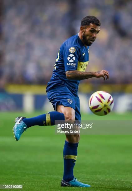 Carlos Tevez of Boca Juniors kicks the ball during a match between Boca Juniors and Velez as part of Superliga Argentina 2018/19 at Estadio Alberto J...