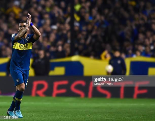 Carlos Tevez of Boca Juniors leaves the field during a match between Boca Juniors and Velez as part of Superliga Argentina 2018/19 at Estadio Alberto...