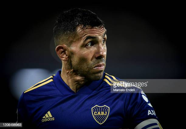 Carlos Tevez of Boca Juniors looks on during a Group H match between Boca Juniors and Deportivo Independiente Medellin as part of Copa CONMEBOL...