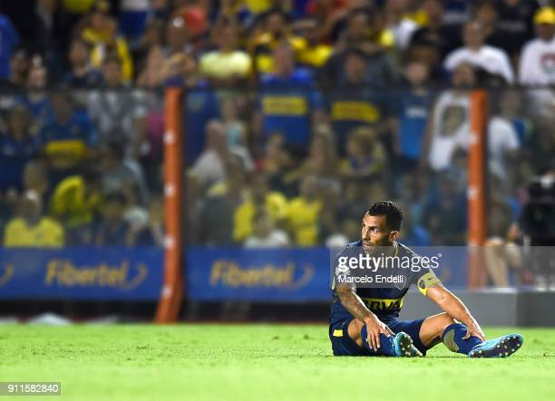 Carlos Tevez of Boca Juniors looks on during a match between Boca Juniors and Colon as part of the Superliga 2017/18 at Alberto J Armando Stadium on...