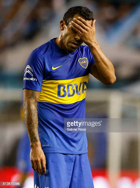 Carlos Tevez of Boca Juniors reacts during a fifth round match between Racing Club and Boca Juniors as part of Torneo Transicion 2016 at Presidente...