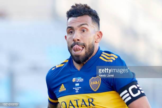 Carlos Tevez of Boca Juniors reacts during a semifinal match of Copa de la Liga Profesional 2021 between Boca Juniors and Racing Club at San Juan del...