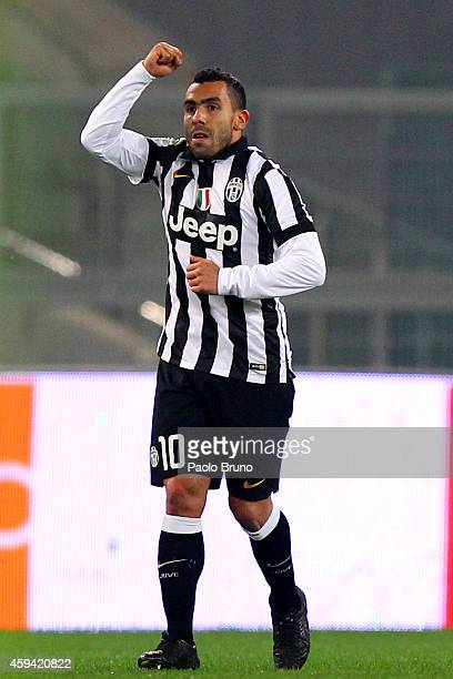 Carlos Tevez of Juventus FC celebrates after scoring the second team's goal during the Serie A match between SS Lazio and Juventus FC at Stadio...