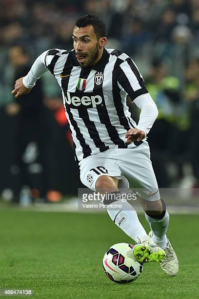 Carlos Tevez of Juventus FC in action during the Serie A match between Juventus FC and US Sassuolo Calcio at Juventus Arena on March 9 2015 in Turin...
