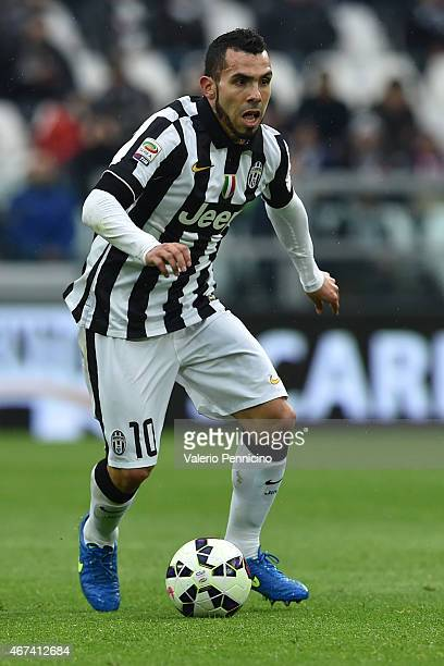 Carlos Tevez of Juventus FC in action during the Serie A match between Juventus FC and Genoa CFC at Juventus Arena on March 22 2015 in Turin Italy