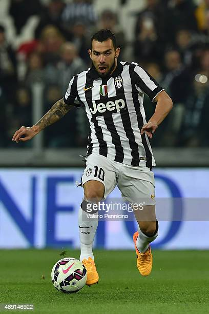 Carlos Tevez of Juventus FC in action during the Serie A match between Juventus FC and Empoli FC at Juventus Arena on April 4 2015 in Turin Italy