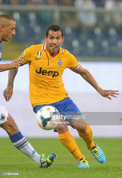Carlos Tevez of Juventus in action during the Serie A match between UC Sampdoria and Juventus at Stadio Luigi Ferraris on August 24 2013 in Genoa...