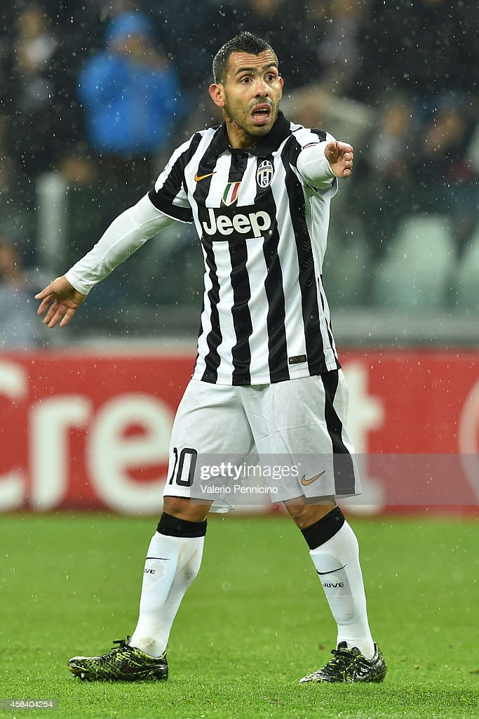 Carlos Tevez of Juventus reacts during the UEFA Champions League group A match between Juventus and Olympiacos FC at Juventus Arena on November 4, 2014 in Turin, Italy.