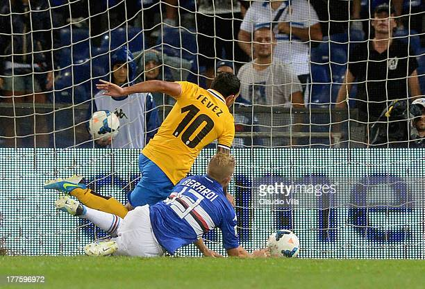 Carlos Tevez of Juventus scores the first goal during the Serie A match between UC Sampdoria and Juventus at Stadio Luigi Ferraris on August 24 2013...