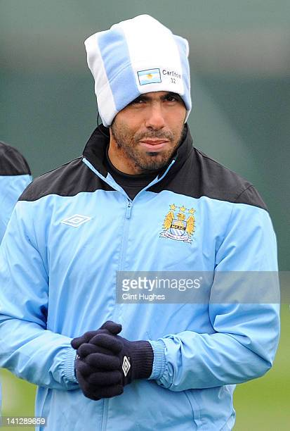 Carlos Tevez of Manchester City attends a training session ahead of their UEFA Europa League Round 16 second Leg match against Sporting Lisbon at the...
