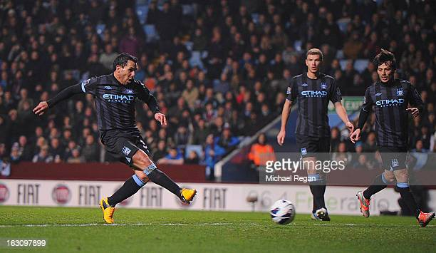 Carlos Tevez of Manchester City scores to make it 10 during the Barclays Premiership match between Aston Villa and Manchester City at Villa Park on...