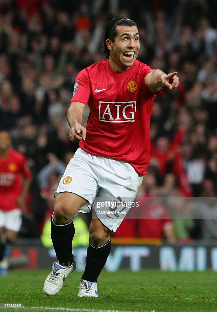 Carlos Tevez of Manchester United celebrates scoring his team's third goal during the Barclays Premier League match between Manchester United and Middlesbrough at Old Trafford on October 27, 2007 in Manchester, England.