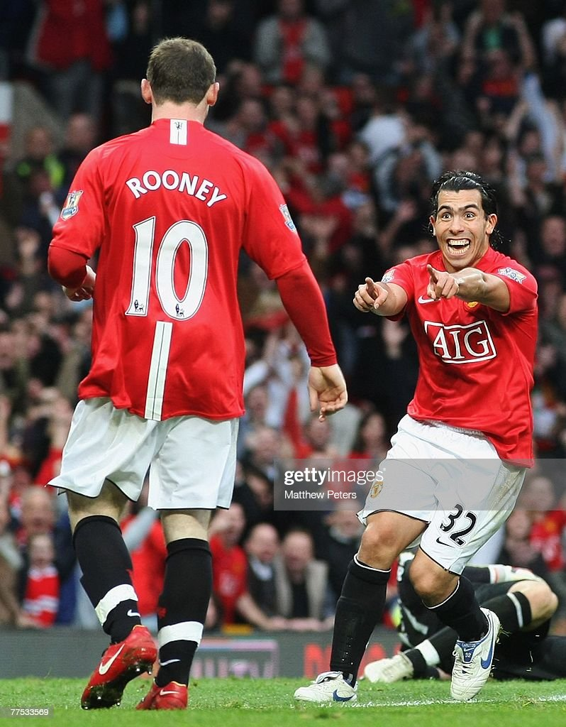 Carlos Tevez of Manchester United celebrates scoring their second goal during the Barclays FA Premier League match between Manchester United and Middlesbrough at Old Trafford on October 27 2007, in Manchester, England.
