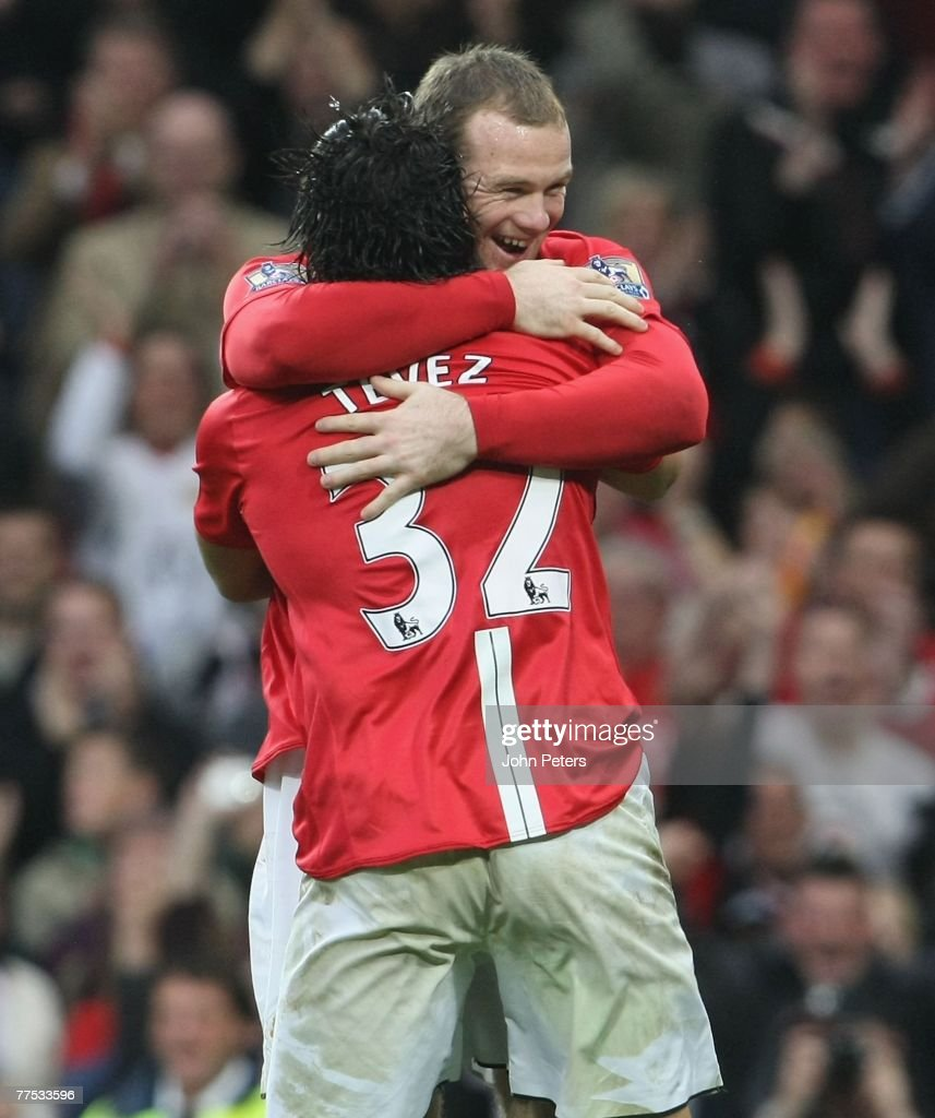 Carlos Tevez of Manchester United celebrates scoring their third goal during the Barclays FA Premier League match between Manchester United and Middlesbrough at Old Trafford on October 27 2007 in Manchester, England.