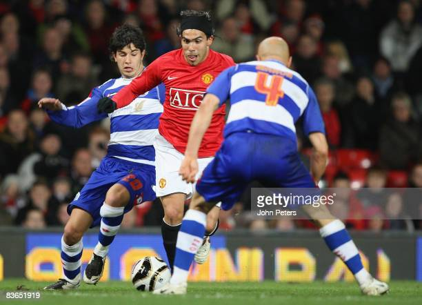 Carlos Tevez of Manchester United clashes with Emmanuel Jorge Ledesma and Gavin Mahon of Queens Park Rangers during the Carling Cup Fourth Round...
