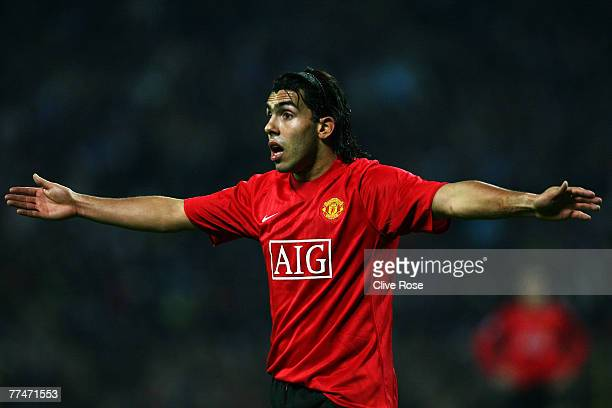 Carlos Tevez of Manchester United during the Champions League Group F match between Dynamo Kiev and Manchester United at the Olympiyskiy Stadium on...