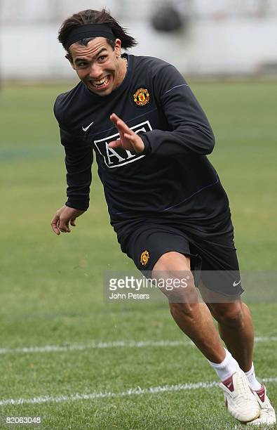 Carlos Tevez of Manchester United in action during a first team training session during their preseason tour to South Africa at Loftus Stadium on...
