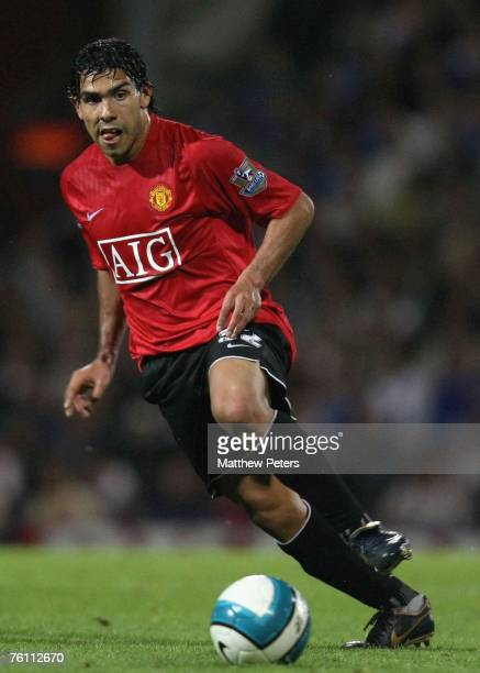 Carlos Tevez of Manchester United in action during the Barclays FA Premier League match between Portsmouth and Manchester United at Fratton Park on...