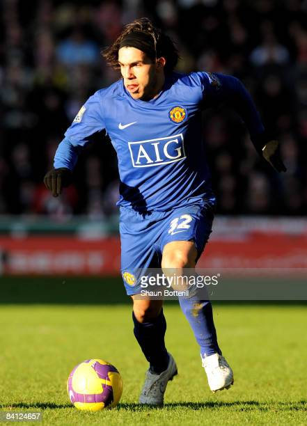 Carlos Tevez of Manchester United in action during the Barclays Premier League match between Stoke City and Manchester United at the Britannia...