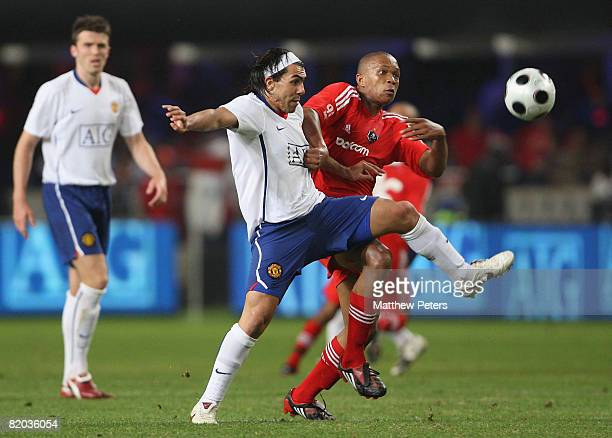 Carlos Tevez of Manchester United in action during the Vodacom Challenge preseason friendly match between Orlando Pirates and Manchester United at...