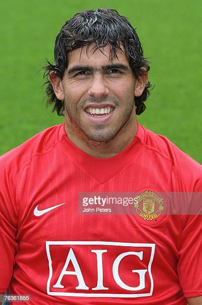 Carlos Tevez of Manchester United poses during the club's official annual photocall at Old Trafford on August 28 2007 in Manchester England