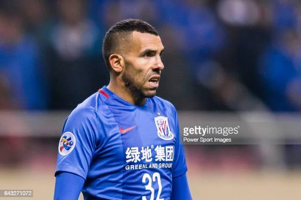 Carlos Tevez of Shanghai Shenhua FC reacts during their AFC Champions League 2017 Playoff Stage match between Shanghai Shenhua FC and Brisbane Roar...