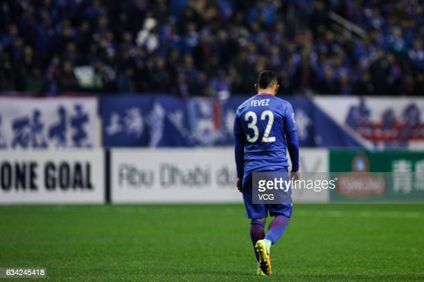 Carlos Tevez of Shanghai Shenhua reacts after losing the AFC Champions League 2017 playoff match between Shanghai Shenhua and Brisbane Roar at...