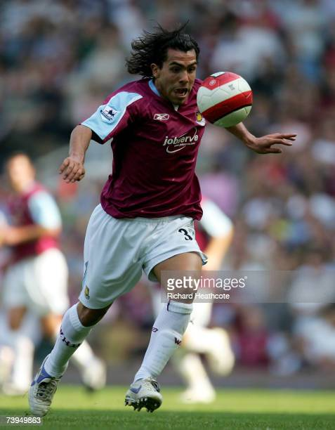 Carlos Tevez of West Ham United in action during the Barclays Premiership match between West Ham United and Everton at Upton Park on April 21, 2007...