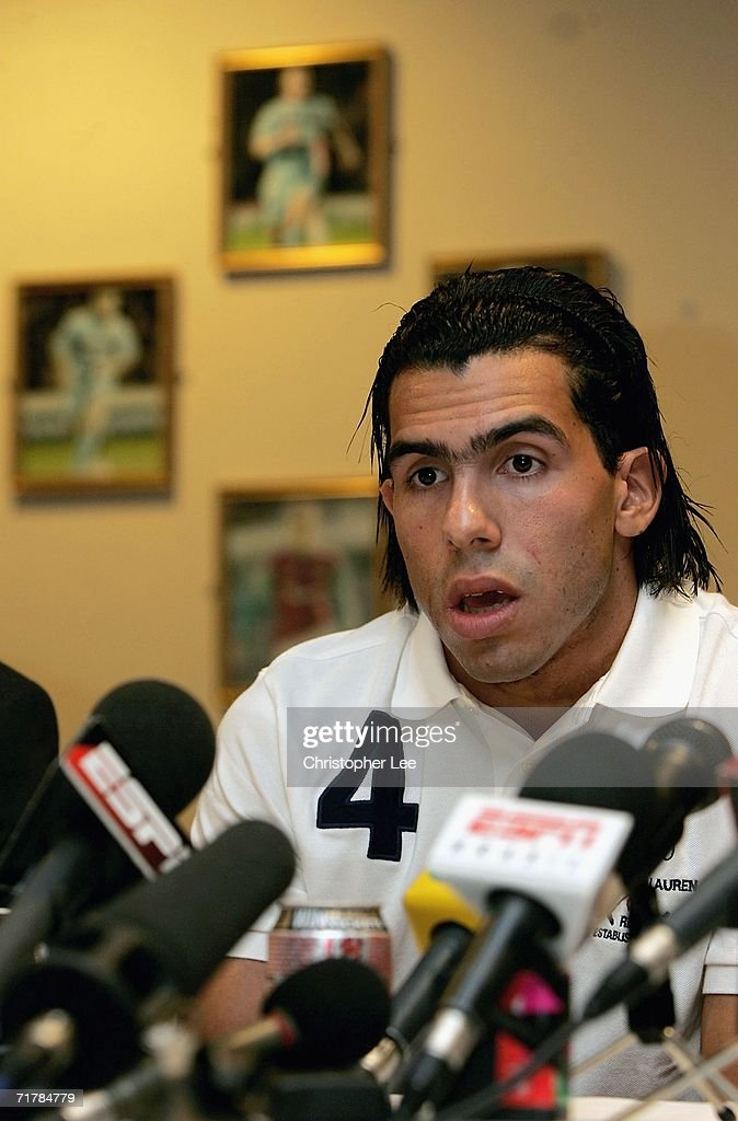 Carlos Tevez talks to the press during a West Ham United press conference to unveil their new signings at Upton Park on September 5, 2006 in London, England.