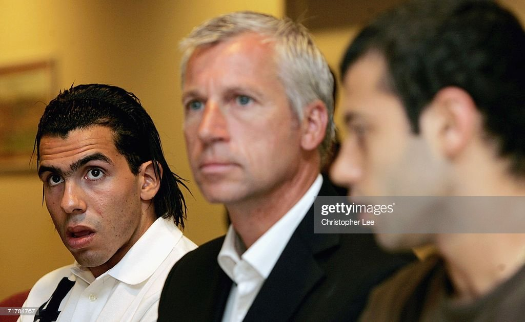 Carlos Tevez, West Ham manager Alan Pardew and Javier Mascherano talk to the press during a West Ham United press conference to unveil their new signings at Upton Park on September 5, 2006 in London, England.