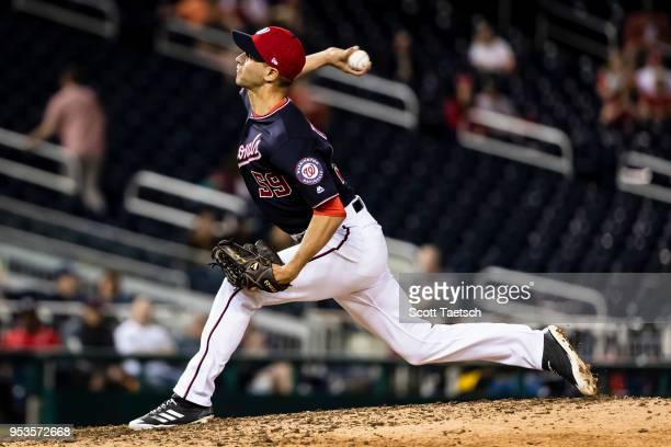 Carlos Torres of the Washington Nationals pitches against the Pittsburgh Pirates during the ninth inning at Nationals Park on May 1 2018 in...